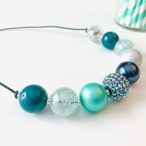 'Teal Twist' Adjustable Bubblegum Bead Necklace